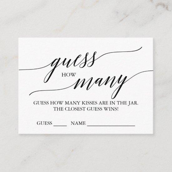 Elegant Calligraphy Guess How Many Kisses Cards