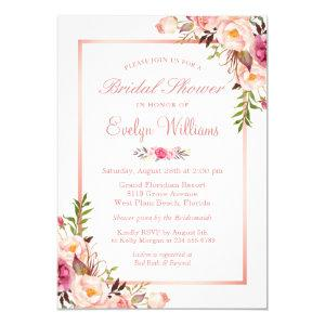 Elegant Chic Rose Gold Floral Bridal Shower Invitation starting at 2.30