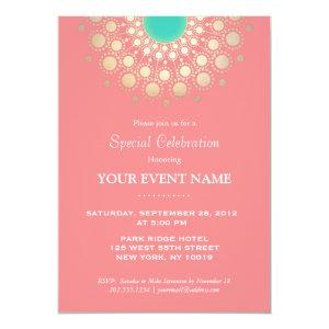 Elegant Coral Pink and Gold Circle Motif Party Invitation starting at 2.51