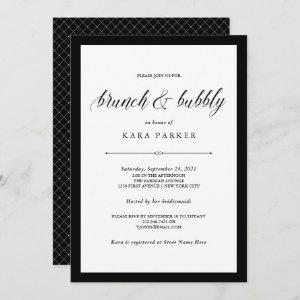 Elegant Couture Black and White Brunch and Bubbly Invitation starting at 2.51