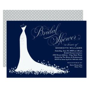 Elegant Dark Navy and Silver Gown Bridal Shower Invitation starting at 2.51