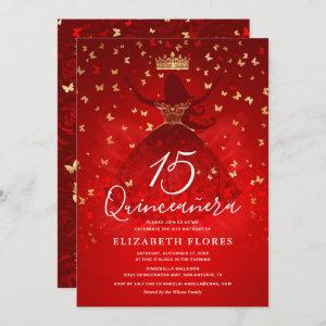 Elegant Dress Crown Red and Gold Quinceanera Invitation starting at 2.82