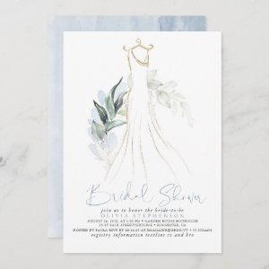 Elegant Dusty Blue and Gold Greenery Bridal Shower Invitation starting at 2.51
