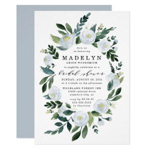 Elegant Dusty Blue Floral Garden Bridal Shower Invitation starting at 2.25