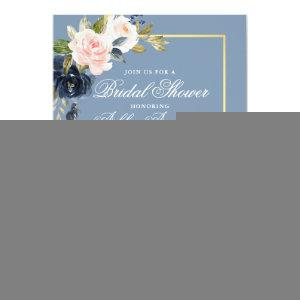 Elegant Dusty Blue Pink Floral Gold Bridal Shower Invitation starting at 2.51