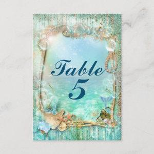 Elegant Enchanted Under The Sea Beach Table Number starting at 2.16