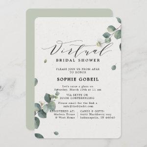 Elegant Eucalyptus Floral VIRTUTAL Bridal Shower Invitation starting at 2.86
