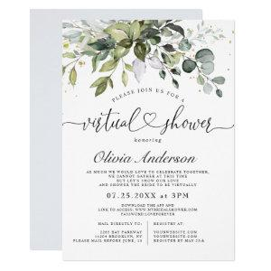 Elegant Eucalyptus Greenery virtual Bridal Shower Invitation starting at 2.35