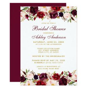 Elegant Floral Burgundy Gold Bridal Shower Invitation starting at 2.51