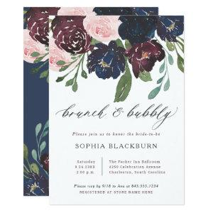 Elegant Floral Navy and Plum | Brunch and Bubbly Invitation starting at 2.51