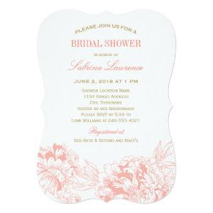 Elegant Floral Peony Wedding Coral Gold Shower Invitation starting at 2.76