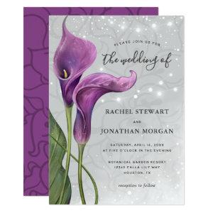 Elegant Floral Rustic Purple Calla Lily Wedding Invitation starting at 2.82