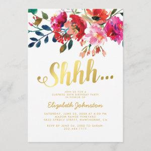Elegant Floral White Gold Surprise Party Invitation starting at 2.51