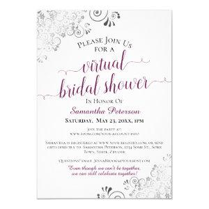 Elegant Frilly Cassis White Virtual Bridal Shower Invitation starting at 2.35