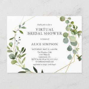 Elegant Geometric Greenery Virtual Bridal Shower Invitation Postcard starting at 1.70