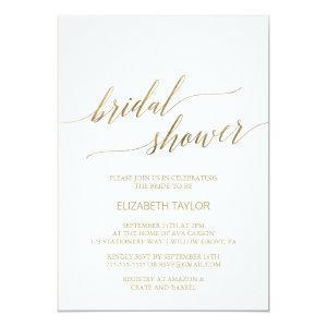 Elegant Gold Calligraphy Bridal Shower Invitation starting at 2.26