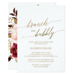Elegant Gold Calligraphy | Floral Brunch & Bubbly Invitation starting at 2.51