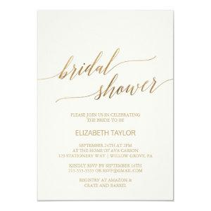 Elegant Gold Calligraphy | Ivory Bridal Shower Invitation starting at 2.26