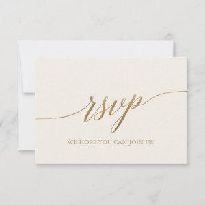 Elegant Gold Calligraphy | Ivory Simple RSVP Card starting at 2.01