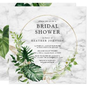 Elegant Gold Marble Tropical Wreath Square Shower Invitation starting at 2.30