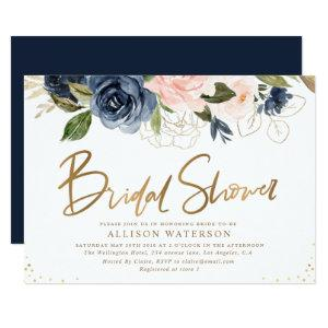 Elegant gold script blush & navy bridal shower invitation starting at 2.35