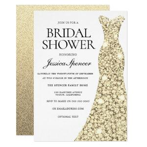 Elegant Gold Sparkle Dress Bridal Shower Invite starting at 2.40