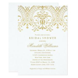 Elegant Gold Vintage Glamour Wedding Bridal Shower Invitation starting at 2.51