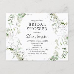 Elegant Greenery Bridal Shower Invitation Postcard starting at 1.70