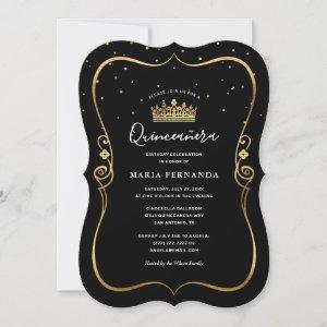 Elegant Luxurious Gold and Black Quinceanera Invitation starting at 2.76