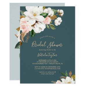 Elegant Magnolia | Teal and White Bridal Shower Invitation starting at 2.26