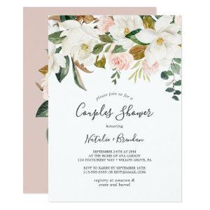 Elegant Magnolia | White and Blush Couples Shower Invitation starting at 2.26