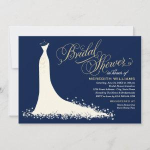 Elegant Navy and Gold Wedding Gown Bridal Shower Invitation starting at 2.51
