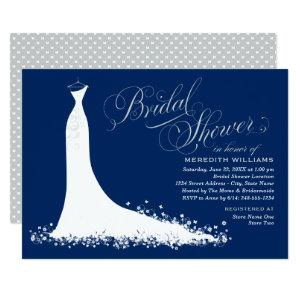 Elegant Navy and Silver Gown Bridal Shower Invitation starting at 2.51