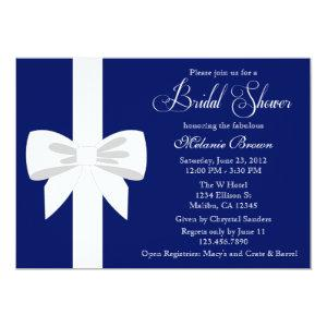 Elegant Navy Blue White Ribbon Bridal Shower Invitation starting at 2.51