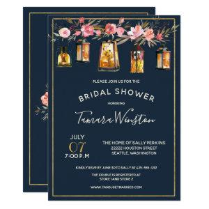 Elegant Peonies Rustic Lanterns Navy Coral Floral Invitation starting at 2.51