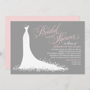 Elegant Pink and Gray Wedding Gown Bridal Shower Invitation starting at 2.51