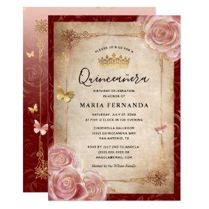 Elegant Pink Watercolor Rose Gold Quinceanera Invitation starting at 2.82