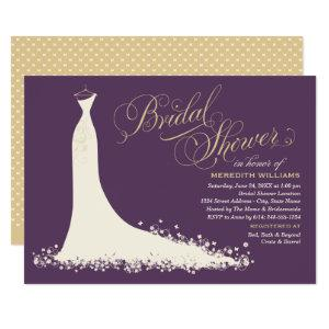Elegant Plum and Gold Wedding Gown Bridal Shower Invitation starting at 2.51