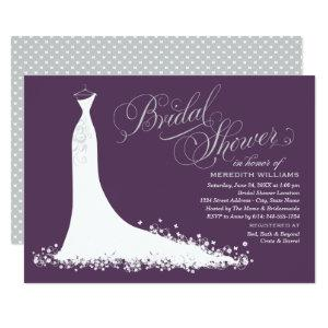 Elegant Plum Silver Wedding Gown Bridal Shower Invitation starting at 2.51