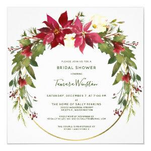 Elegant Poinsettia Floral Christmas Bridal Shower Invitation starting at 2.30