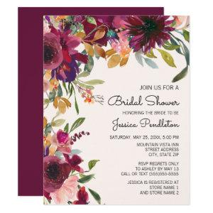 Elegant Purple Pink Gold Floral  Bridal Shower Invitation starting at 2.20