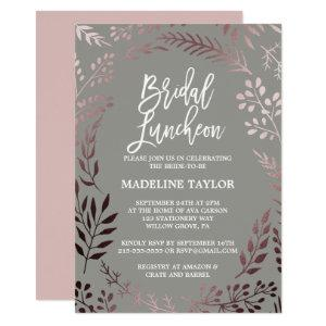 Elegant Rose Gold and Gray Bridal Luncheon Invitation starting at 2.51