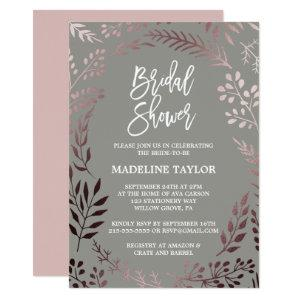 Elegant Rose Gold and Gray Bridal Shower Invitation starting at 2.51