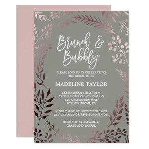 Elegant Rose Gold and Gray Brunch and Bubbly Invitation starting at 2.51