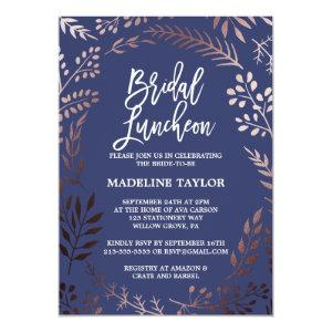 Elegant Rose Gold and Navy Bridal Luncheon Invitation starting at 2.51