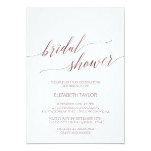 Elegant Rose Gold Calligraphy Bridal Shower Invitation starting at 2.26