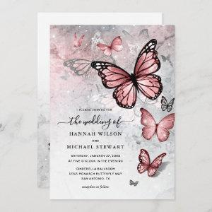 Elegant Silver and Pink Butterfly Wedding Invitation starting at 2.82