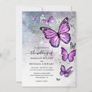 Elegant Silver and Purple Butterfly Wedding Invitation starting at 2.82