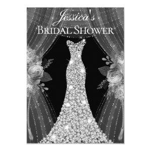 Elegant Silver Curtains Dress Bridal Shower Invite starting at 2.40