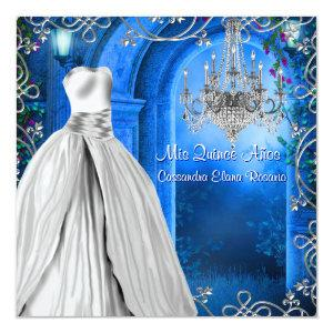Elegant Silver Royal Navy Blue Quinceanera Invitation starting at 2.67